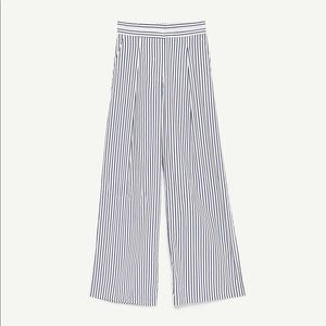 NWT Zara Blue White Striped Wide Leg Palazzo Pants